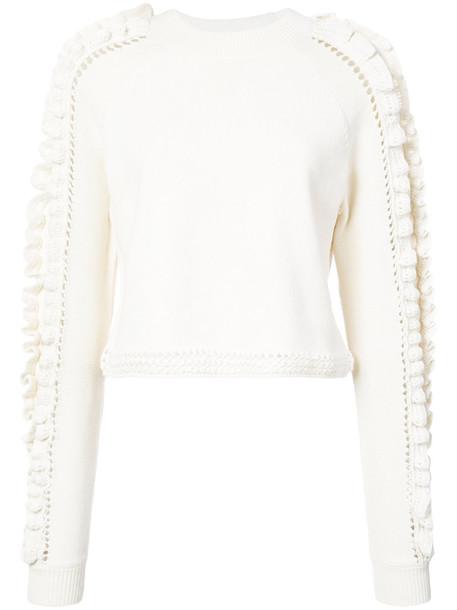 Jonathan Simkhai jumper cropped jumper cropped ruffle women nude wool crochet sweater