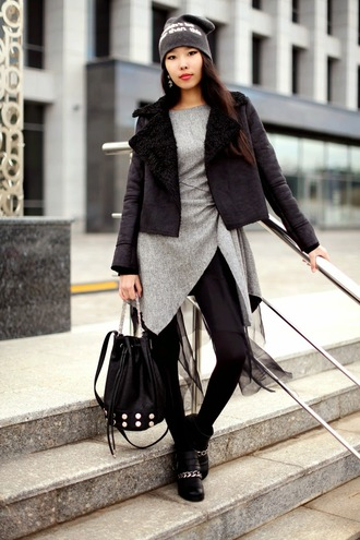 aibina's blog blogger bag jewels quote on it asymmetrical black shearling jacket