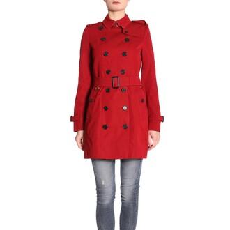 coat trench coat women red