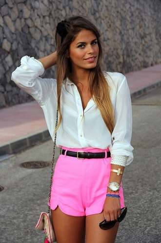 shorts short pink neon cross bracelets gold shirt blouse