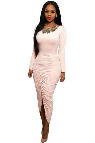 dress pink pink dress maxi dress maxi sexy dress evening dress sexy party dresses cocktail dress girly long sleeves birthday dress club dress