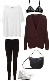 sweater,cardigan,burgundy,polyvore,clothes,studs,polka dots,bra,white t-shirt,black leggings,converse