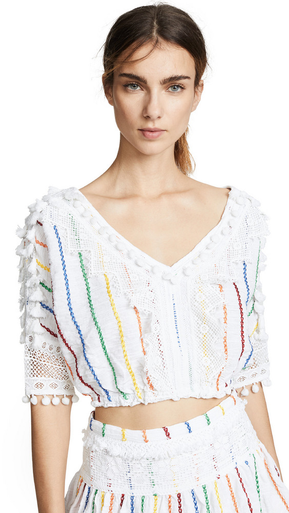 Place Nationale Soleil Sleeved Crop Top in white