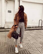 pants,white sneakers,plaid,high waisted,brown coat,black bag,black turtleneck top,long coat