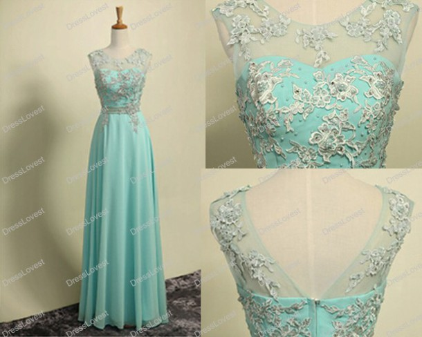Dress: long prom dress, lace prom dresses, tiffany blue dresses ...