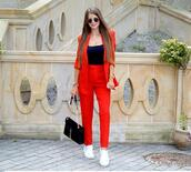 only my fashion style,blogger,jacket,pants,bag,shoes,suit,blazer,red pants,red jacket
