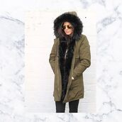 coat,one nation clothing,parka,black fur parka,black fur,fur hood,black parka,fur lined parka,khaki parka,Khaki coat,winter coat
