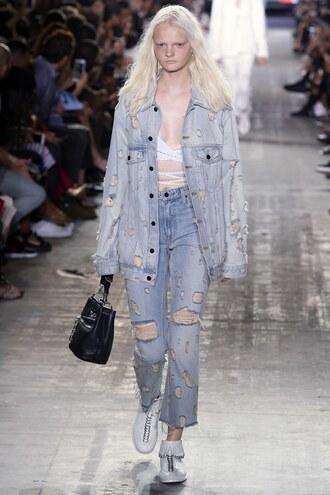 jeans jacket denim jacket denim sneakers ny fashion week 2016 runway model alexander wang