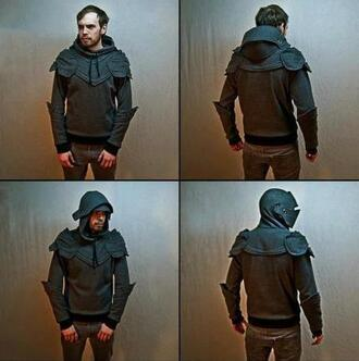 jacket knight grey awesomness medieval armour helmet