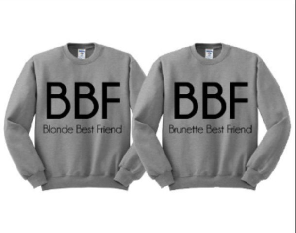 sweater shirt jacket grey hoodie bff sweatshirt brunette blonde hair cute black grey hoodie grey grunge cool funny matching set oversized awqw pink writing bbf couple sweaters