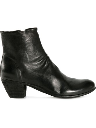 zip women boots ankle boots leather black shoes