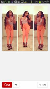 pants,peach high wasted cute legs,shirt,shoes