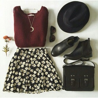 sweater skirt necklace hat floral skirt burgundy sweater black booties