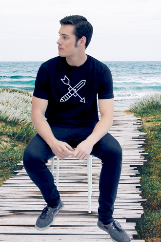 t-shirt embroidered sword arrow embroidery black black and white cotton heavy cotton custom made