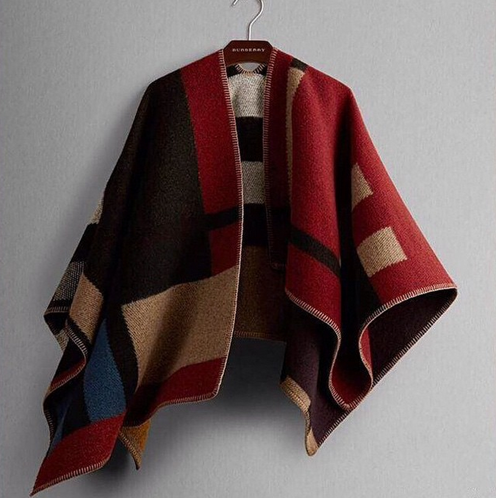 Burberry colour block check blanket poncho – the xclusiiv boutique