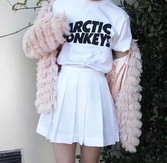 skirt white skirt fashion jacket pink grunge faux fur dress tennis skirt