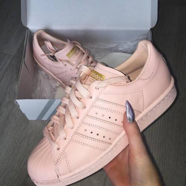 shoes pink sneakers adidas adidas supercolor pink peach nude light  lightpink rose adidas shoes trainers casual.