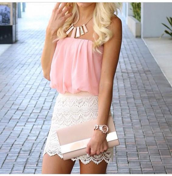 fashion beauty girly white skirt baige