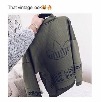 sweater adidas vintage green army green jacket black