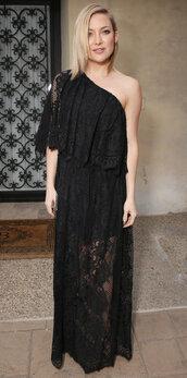 dress,gown,prom dress,one shoulder,kate hudson,black dress,black,maxi dress