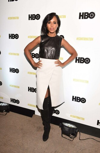 skirt top boots kerry washington midi skirt slit skirt over the knee boots crop tops