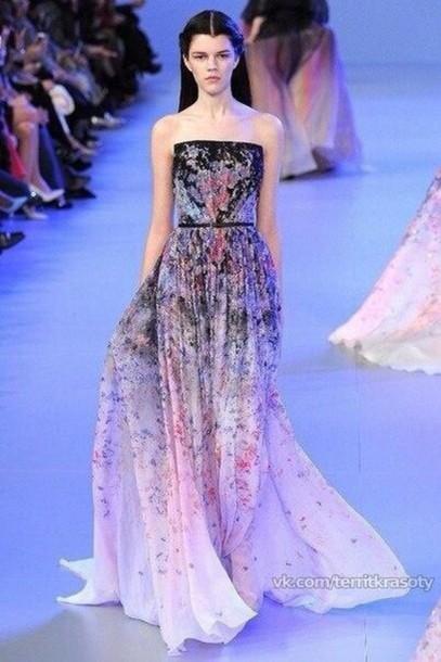 dress black long dress multi tonal l chiffon elie saab 2014 elie saab prom dresses