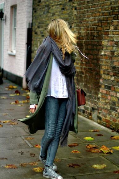 en vogue coop blogger scarf jeans bag converse long coat