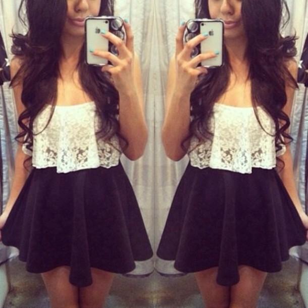 8f8638894da skirt, black mini skirt, lace top, white, dentelle, crop tops ...