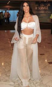 pants,see through,see through pants,kim kardashian,kardashians,top,bralette,bustier crop top,coat