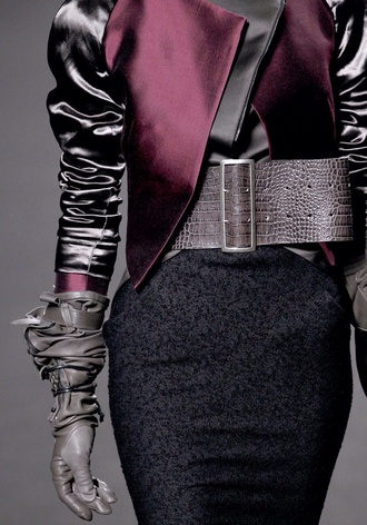 jacket skirt gloves grey gloves leather