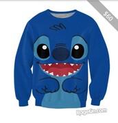 sweater,shirt,blue shirt,lilo and stitch,crew neck sweatshirt