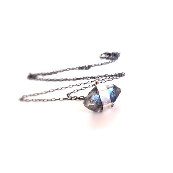 Black Diamond Silver Necklace Herkimer Diamond by camilaestrella
