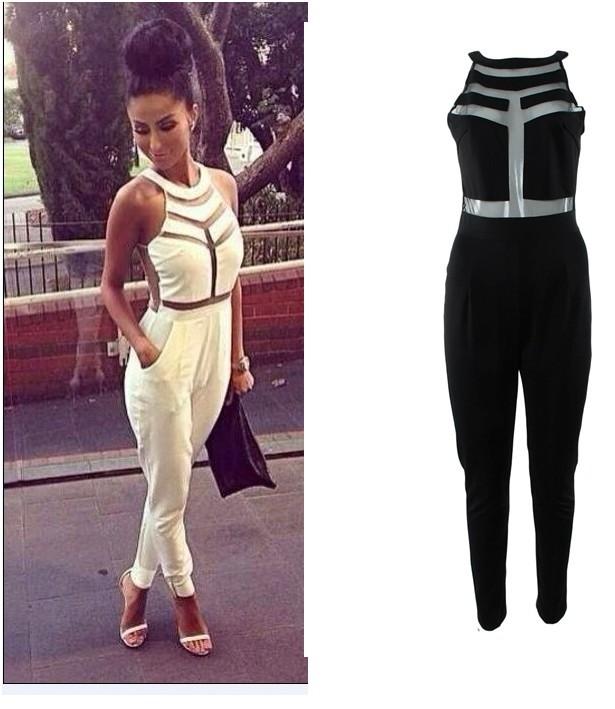 Free Shipping 2014 Fashion Net Yarn Splicing Halter Jumpsuit Ft691