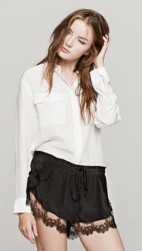 Mason By Michelle Mason Lace Trim Shorts In Black | The Dreslyn