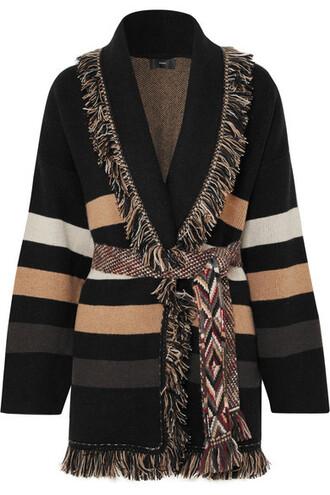 cardigan jacquard black knit sweater