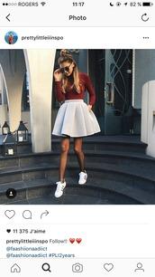 skirt,skater skirt,grey skirt,sweater,scuba skirt