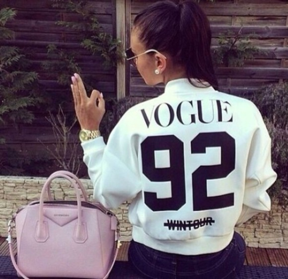 jacket baseball jacket fashion sunglasses gold watch dark hair long nails pastel bag