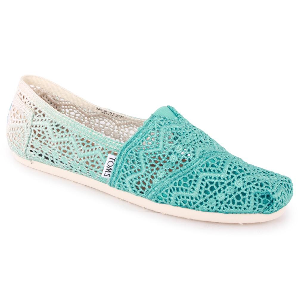 Toms Dip-Dyed Crochet Classics Womens Textile Espadrilles Blue