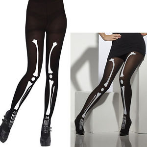 Ladies Skeleton Bone Print Black Tights Halloween Fancy Dress Costume Accessory | eBay