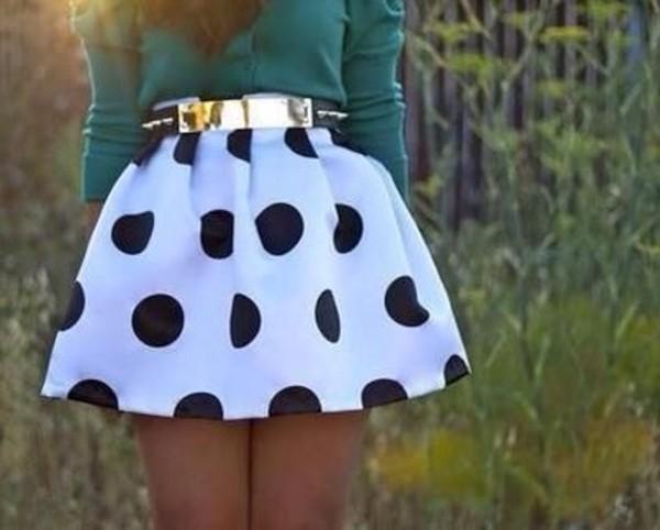 skirt polka dot skirt black and white