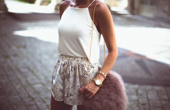 bag blouse high waisted fluffy handbag