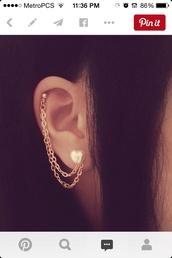 jewels,heart earrings,cartilage,ear piercings,piercing,ears