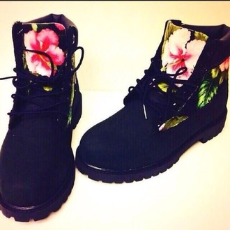 shoes flowers black timberlands