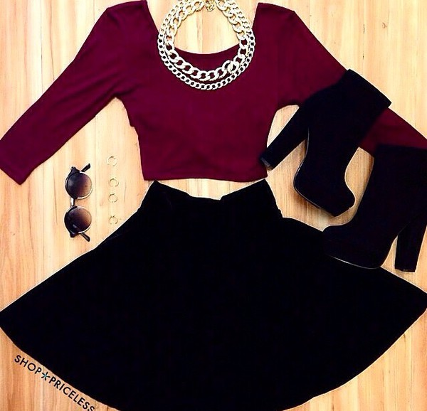 Top: crop tops, wine-red, skirt, black, boots, outfit ...