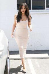 dress,bodycon dress,midi dress,kim kardashian,nude,nude dress,kardashians,keeping up with the kardashians
