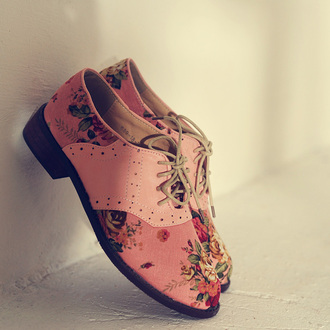 oxfords flats flower shoes floral dusty pink shoes