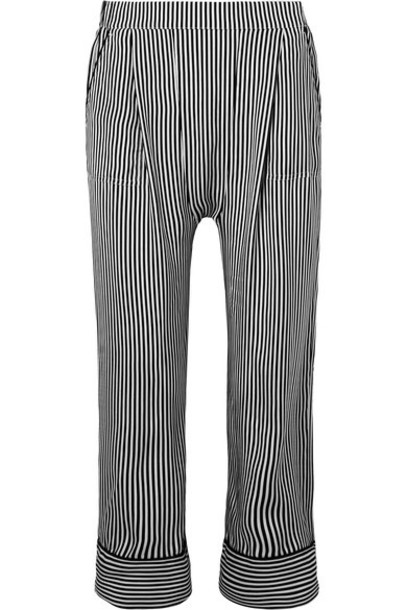 The Great pants wide-leg pants cropped black silk
