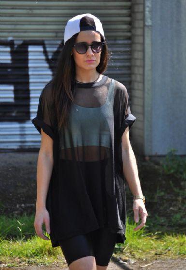 Oversized black on black sheer mesh front t shirt dress top
