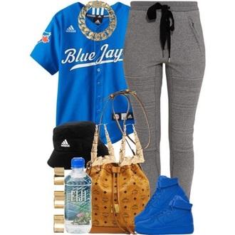 shirt blue shirt baseball jersey air force 1 blue air force 1s gold chain necklace black bucket hat adidas pants