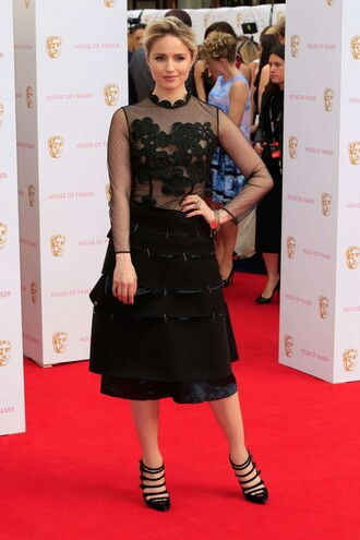 dress midi dress black dress dianna agron pumps all black everything lace skirt